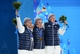 Feb 20, 2014; Sochi, RUSSIA; (Left to right) Arnaud Bovolenta, Jean Frederic Chapuis, and Jonathan Midol pose after receiving their medals during the medal ceremony for Freestyle Skiing Men's Ski Cross during the Sochi 2014 Olympic Winter Games at the Medals Plaza. Mandatory Credit: Jayne Kamin-Oncea-USA TODAY Sports