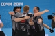 Feb 21, 2014; Sochi, RUSSIA; Brad Jacobs (CAN), Ryan Harnden (CAN), Ryan Fry (CAN), and E.J. Harnden (CAN) celebrate after winning the gold medal in the men's curling gold medal match during the Sochi 2014 Olympic Winter Games at Ice Cube Curling Center. Mandatory Credit: Kyle Terada-USA TODAY Sports