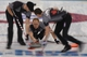 Feb 21, 2014; Sochi, RUSSIA; Ryan Harnden (CAN), Brad Jacobs (CAN), and E.J. Harnden (CAN) in the men's curling gold medal match during the Sochi 2014 Olympic Winter Games at Ice Cube Curling Center. Mandatory Credit: Kyle Terada-USA TODAY Sports