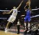 Feb 21, 2014; Memphis, TN, USA; Los Angeles Clippers small forward Matt Barnes (22) shoots the ball over Memphis Grizzlies small forward Tayshaun Prince (21) at FedExForum. The Grizzlies won 102 - 96. Mandatory Credit: Justin Ford-USA TODAY Sports