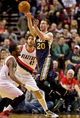 Feb 21, 2014; Portland, OR, USA; Utah Jazz shooting guard Gordon Hayward (20) passes away from Portland Trail Blazers shooting guard Wesley Matthews (2) during the second quarter at the Moda Center. Mandatory Credit: Craig Mitchelldyer-USA TODAY Sports