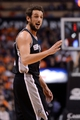 Feb 21, 2014; Phoenix, AZ, USA; San Antonio Spurs guard Marco Belinelli (3) reacts on the court against the Phoenix Suns in the first half at US Airways Center. The Suns won 106-85. Mandatory Credit: Jennifer Stewart-USA TODAY Sports