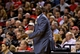 Feb 21, 2014; Portland, OR, USA; Utah Jazz head coach Tyrone Corbin reacts to a foul call during the third quarter against the Portland Trail Blazers at the Moda Center. Mandatory Credit: Craig Mitchelldyer-USA TODAY Sports
