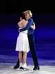 Feb 22, 2014; Sochi, RUSSIA; Meryl Davis and Charlie White of the USA react after their performance in the figure skating gala exhibition during the Sochi 2014 Olympic Winter Games at Iceberg Skating Palace. Mandatory Credit: James Lang-USA TODAY Sports