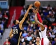 Feb 22, 2014; Washington, DC, USA; Washington Wizards guard Bradley Beal (3) shoots the ball over New Orleans Pelicans forward Anthony Davis (23) at Verizon Center. Mandatory Credit: Evan Habeeb-USA TODAY Sports