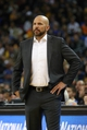 Feb 22, 2014; Oakland, CA, USA; Brooklyn Nets head coach Jason Kidd watches game action against the Golden State Warriors during the third quarter at Oracle Arena. The Golden State Warriors defeated the Brooklyn Nets 93-86. Mandatory Credit: Kelley L Cox-USA TODAY Sports