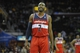 Feb 23, 2014; Cleveland, OH, USA; Washington Wizards point guard John Wall (2) reacts near the end of a 96-83 win over the Cleveland Cavaliers at Quicken Loans Arena. Mandatory Credit: David Richard-USA TODAY Sports