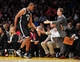 February 23, 2014; Los Angeles, CA, USA; Brooklyn Nets center Jason Collins (46) is greeted by head coach Jason Kidd and coaching staff during the first half at Staples Center. Mandatory Credit: Gary A. Vasquez-USA TODAY Sports