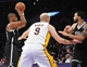 February 23, 2014; Los Angeles, CA, USA; Brooklyn Nets center Jason Collins (46) controls the ball against the Los Angeles Lakers during the first half at Staples Center. Mandatory Credit: Gary A. Vasquez-USA TODAY Sports