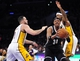 February 23, 2014; Los Angeles, CA, USA; Brooklyn Nets small forward Paul Pierce (34) moves to the basket against  Los Angeles Lakers point guard Jordan Farmar (1) and power forward Jordan Hill (27) during the first half at Staples Center. Mandatory Credit: Gary A. Vasquez-USA TODAY Sports