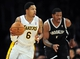 February 23, 2014; Los Angeles, CA, USA; Los Angeles Lakers shooting guard Kent Bazemore (6) moves the ball up court against the Brooklyn Nets during the second half at Staples Center. Mandatory Credit: Gary A. Vasquez-USA TODAY Sports