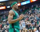 Feb 24, 2014; Salt Lake City, UT, USA; Boston Celtics point guard Rajon Rondo (9) walks off the court in the final seconds against the Utah Jazz at EnergySolutions Arena. The Jazz won 110-98. Mandatory Credit: Russ Isabella-USA TODAY Sports