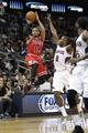 Feb 25, 2014; Atlanta, GA, USA; Chicago Bulls point guard D.J. Augustin (14) shoots the ball against the Atlanta Hawks in the first quarter at Philips Arena. Mandatory Credit: Brett Davis-USA TODAY Sports