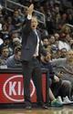 Feb 25, 2014; Atlanta, GA, USA; Atlanta Hawks head coach Mike Budenholzer coaches against the Chicago Bulls in the third quarter at Philips Arena. Mandatory Credit: Brett Davis-USA TODAY Sports