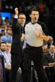 Feb 28, 2014; Oklahoma City, OK, USA; Oklahoma City Thunder head coach Scott Brooks reacts to a call in action against the Memphis Grizzlies at Chesapeake Energy Arena. Mandatory Credit: Mark D. Smith-USA TODAY Sports