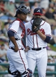 Mar 2, 2014; Lake Buena Vista, FL, USA; Atlanta Braves catcher Christian Bethancourt (58) talks to relief pitcher Cory Gearrin (53) during the fourth inning against the Detroit Tigers at Champion Stadium. Mandatory Credit: Kim Klement-USA TODAY Sports