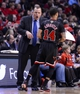 Mar 2, 2014; Chicago, IL, USA; Chicago Bulls head coach Tom Thibodeau talks with point guard D.J. Augustin (14) during the first half at the United Center. Mandatory Credit: Mike DiNovo-USA TODAY Sports
