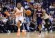 Mar 2, 2014; Phoenix, AZ, USA; Phoenix Suns point guard Ish Smith (3) dribbles past Atlanta Hawks point guard Jeff Teague (0) during the first half at US Airways Center. Mandatory Credit: Joe Camporeale-USA TODAY Sports