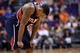 Mar 2, 2014; Phoenix, AZ, USA; Atlanta Hawks point guard Jeff Teague (0) looks on in the final seconds of the second half  against the Phoenix Suns at US Airways Center. The Phoenix Suns won the game 129-120. Mandatory Credit: Joe Camporeale-USA TODAY Sports
