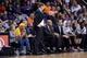 Mar 2, 2014; Phoenix, AZ, USA; Atlanta Hawks head coach Mike Budenholzer looks on against the Phoenix Suns during the second half at US Airways Center. The Phoenix Suns won the game 129-120. Mandatory Credit: Joe Camporeale-USA TODAY Sports