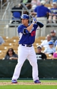 March 4, 2014; Phoenix, AZ, USA; Los Angeles Dodgers left fielder Joc Pederson (65) at bat in the fifth inning against the Seattle Mariners at Camelback Ranch. Mandatory Credit: Gary A. Vasquez-USA TODAY Sports