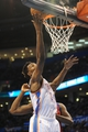Mar 4, 2014; Oklahoma City, OK, USA; Oklahoma City Thunder center Hasheem Thabeet (34) attempts a shot against the Philadelphia 76ers during the fourth quarter at Chesapeake Energy Arena. Mandatory Credit: Mark D. Smith-USA TODAY Sports