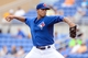 Mar 5, 2014; Dunedin, FL, USA; Toronto Blue Jays pitcher Sergio Santos (21) throws a pitch  during the spring training exhibition game against the Pittsburg Pirates at Florida Auto Exchange Park. Mandatory Credit: Jonathan Dyer-USA TODAY Sports