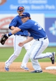 Mar 5, 2014; Dunedin, FL, USA; Toronto Blue Jays infielder Chris Getz (39) grabs a ground ball during the spring training exhibition game against the Pittsburg Pirates at Florida Auto Exchange Park. Mandatory Credit: Jonathan Dyer-USA TODAY Sports