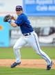 Mar 5, 2014; Dunedin, FL, USA; Toronto Blue Jays infielder Chris Getz (39) prepares to throw the ball during the spring training exhibition game against the Pittsburg Pirates at Florida Auto Exchange Park. Mandatory Credit: Jonathan Dyer-USA TODAY Sports