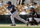 Mar 5, 2014; Phoenix, AZ, USA; San Diego Padres shortstop Everth Cabrera (2) singles during the first inning against the Chicago White Sox at Camelback Ranch. Mandatory Credit: Rick Scuteri-USA TODAY Sports