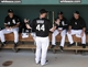 Mar 5, 2014; Phoenix, AZ, USA; Chicago White Sox designated hitter Adam Dunn (44) jokes around with teammates before a game against the San Diego Padres at Camelback Ranch. Mandatory Credit: Rick Scuteri-USA TODAY Sports