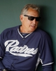 Mar 5, 2014; Phoenix, AZ, USA; San Diego Padres manager Bud Black (20) sits in the dugout before a game against the Chicago White Sox at Camelback Ranch. Mandatory Credit: Rick Scuteri-USA TODAY Sports