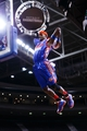 Jan 28, 2014; Auburn Hills, MI, USA; Detroit Pistons flight crew member performs during a time out against the Orlando Magic at The Palace of Auburn Hills. Mandatory Credit: Rick Osentoski-USA TODAY Sports