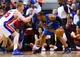 Jan 28, 2014; Auburn Hills, MI, USA; Orlando Magic shooting guard Arron Afflalo (4) is defended by Detroit Pistons small forward Kyle Singler (25) at The Palace of Auburn Hills. Mandatory Credit: Rick Osentoski-USA TODAY Sports