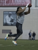 Mar 7, 2014; Columbus, OH, USA; Ohio State Buckeyes cornerback Bradley Roby works out in front of NFL scouts on pro day  at The Woody Hayes Athletic Center. Mandatory Credit: Greg Bartram-USA TODAY Sports