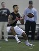 Mar 7, 2014; Columbus, OH, USA; Ohio State Buckeyes wide receiver Chris Fields works out in front of NFL scouts on pro day  at The Woody Hayes Athletic Center. Mandatory Credit: Greg Bartram-USA TODAY Sports