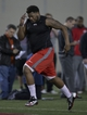 Mar 7, 2014; Columbus, OH, USA; Ohio State Buckeyes offensive lineman Marcus Hall works out in front of NFL scouts on pro day  at The Woody Hayes Athletic Center. Mandatory Credit: Greg Bartram-USA TODAY Sports
