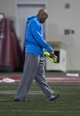 Mar 7, 2014; Columbus, OH, USA; Ohio State Buckeyes linebacker Ryan Shazier leaves the field after suffering a hamstring injury while working out in front of NFL scouts on pro day  at The Woody Hayes Athletic Center. Mandatory Credit: Greg Bartram-USA TODAY Sports