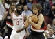 Mar 9, 2014; Houston, TX, USA; Portland Trail Blazers center Robin Lopez (42) grabs the rebound during the fourth quarter against the Houston Rockets at Toyota Center. Mandatory Credit: Andrew Richardson-USA TODAY Sports