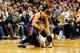 Mar 10, 2014; Salt Lake City, UT, USA; Atlanta Hawks shooting guard Kyle Korver (26) and Utah Jazz point guard Diante Garrett (8) scramble for a loose ball during the second quarter at EnergySolutions Arena. Mandatory Credit: Chris Nicoll-USA TODAY Sports