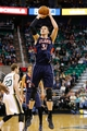 Mar 10, 2014; Salt Lake City, UT, USA; Atlanta Hawks center Mike Muscala (31) shoots an open jump shot against the Utah Jazz during the second quarter at EnergySolutions Arena. Mandatory Credit: Chris Nicoll-USA TODAY Sports