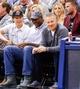 Mar 10, 2014; Salt Lake City, UT, USA; Utah Jazz owner Greg Miller sits next to former Utah Jazz forward Karl Malone during the game between the Utah Jazz and the Atlanta Hawks at EnergySolutions Arena. The Atlanta Hawks won the game 112-110. Mandatory Credit: Chris Nicoll-USA TODAY Sports