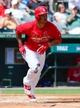 Mar 11, 2014; Jupiter, FL, USA; St. Louis Cardinals second baseman Kolten Wong (16) hits a 2 run home run against the New York Mets at Roger Dean Stadium. The Mets defeated the Cardinals 9-8. Mandatory Credit: Scott Rovak-USA TODAY Sports
