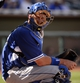 Mar 11, 2014; Surprise, AZ, USA; Los Angeles Dodgers catcher AJ Ellis (17) looks over for a sign during the sixth inning against the Kansas City Royals at Surprise Stadium. Mandatory Credit: Christopher Hanewinckel-USA TODAY Sports