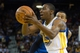 Mar 11, 2014; Oakland, CA, USA; Golden State Warriors guard Jordan Crawford (55) drives in against Dallas Mavericks guard Monta Ellis (11) during the fourth quarter at Oracle Arena. The Golden State Warriors defeated the Dallas Mavericks 108-85. Mandatory Credit: Kelley L Cox-USA TODAY Sports