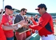Mar 13, 2014; Jupiter, FL, USA; St. Louis Cardinals manager Mike Matheny (22) signs autographs after the game against the Atlanta Braves at Roger Dean Stadium. The Cardinals defeated the Braves 11-0. Mandatory Credit: Scott Rovak-USA TODAY Sports