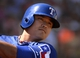 Mar 16, 2014; Surprise, AZ, USA; Texas Rangers designated hitter Chin-Soo Choo (17) prior to his at bat during the first inning against the Chicago White Sox at Surprise Stadium. Mandatory Credit: Christopher Hanewinckel-USA TODAY Sports