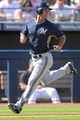 Mar 19, 2014; Peoria, AZ, USA; Milwaukee Brewers left fielder Logan Schafer (1) scores a run in the seventh inning against the Seattle Mariners at Peoria Sports Complex. The Brewers won 9-7. Mandatory Credit: Joe Camporeale-USA TODAY Sports
