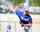 Mar 11, 2014; Surprise, AZ, USA;  Los Angeles Dodgers pitcher Jamey Wright (28) throws against the Kansas City Royals at Surprise Stadium. Mandatory Credit: Christopher Hanewinckel-USA TODAY Sports