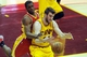 Mar 22, 2014; Cleveland, OH, USA; Cleveland Cavaliers center Spencer Hawes (32) and Houston Rockets forward Terrence Jones (6) fight for a rebound during the third quarter at Quicken Loans Arena. Houston won 118-111. Mandatory Credit: Ken Blaze-USA TODAY Sports